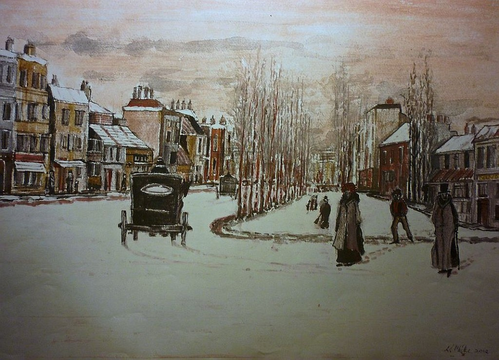 Victorian London with Snow and Hackney Carriage. watercolour.