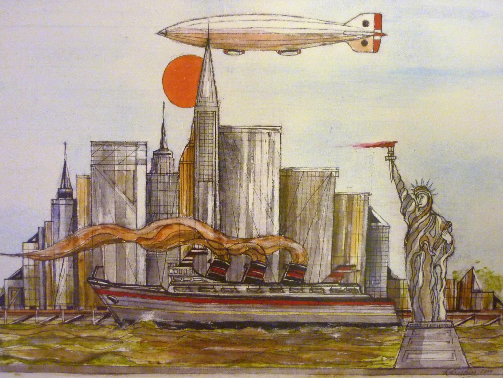 New York Cityscape with Statue of Liberty, Airship and Steam Ship. Pen and Watercolour.