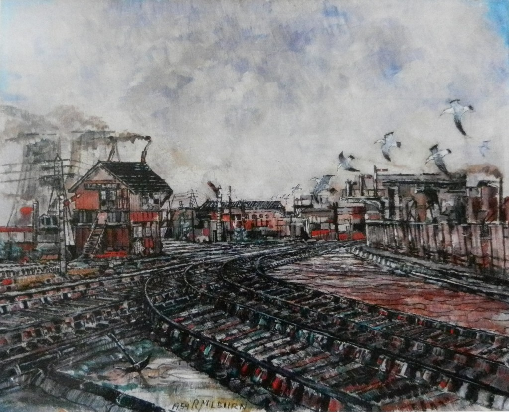 Rail Tracks, signal box at Victoria Docks oil painting