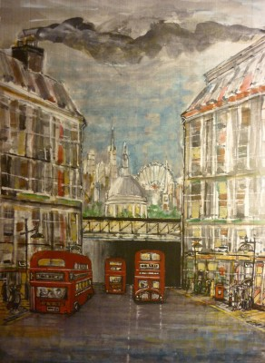 London City and Routemaster Buses. Acrylic and watercolour.
